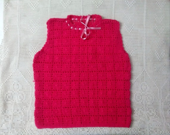 Crochet Long Vest Shawl Boho Retro Hippie Handmade Blue Pink and White Festival Vest Fashion Spring Summer Vest