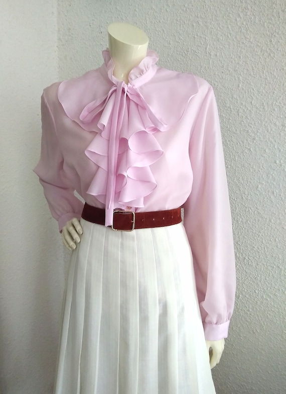 70s pussy bow blouse ruffled collar long sleeves … - image 5