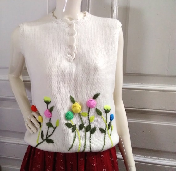 80s embroidered vest boho wool knitted vest ivory