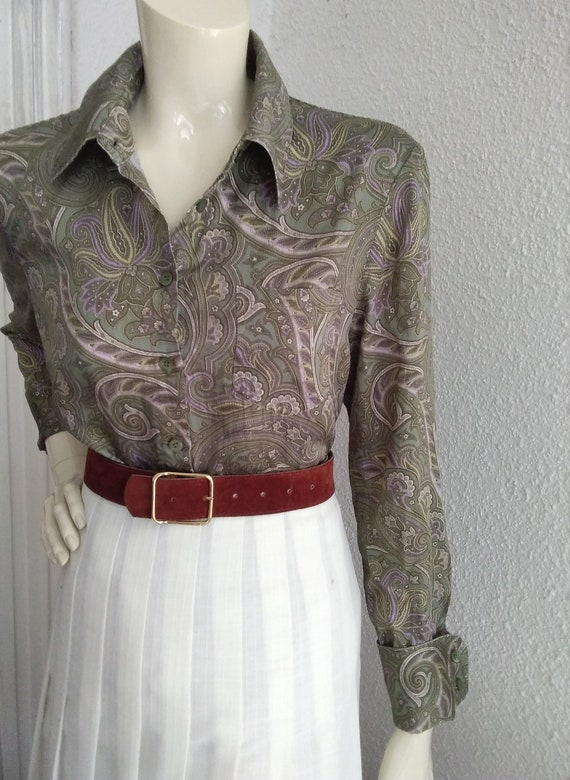 90s does 40s-50s paisley blouse cotton grey sprin… - image 3