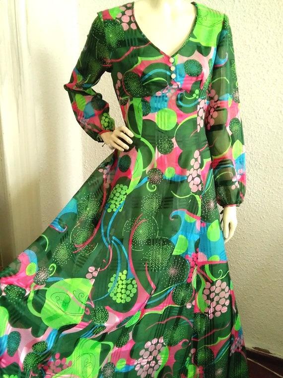 Amazing Vintage 1970/'s Forest Green Jersey Slinky Rhinestone Disco Tank Dress xssmall