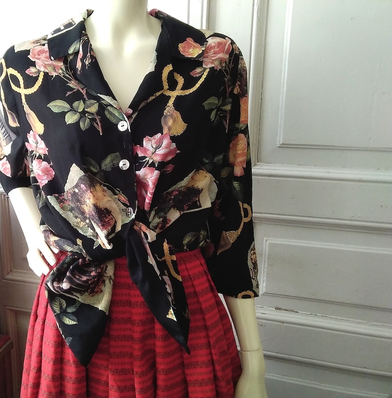 80s floral blouse red roses  black print botanical blouse spring blouse 34 sleeve summer blouse vacation floral blouse viscose handmade