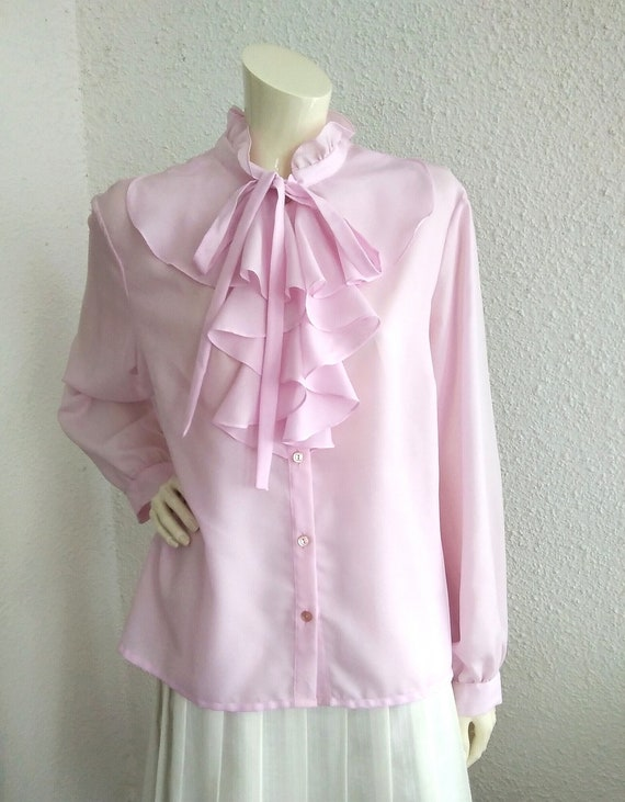 70s pussy bow blouse ruffled collar long sleeves … - image 8