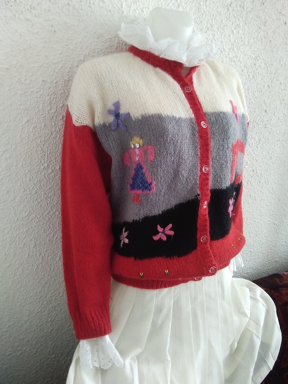 80s novelty scenic sweater vintage wool mohair an… - image 6