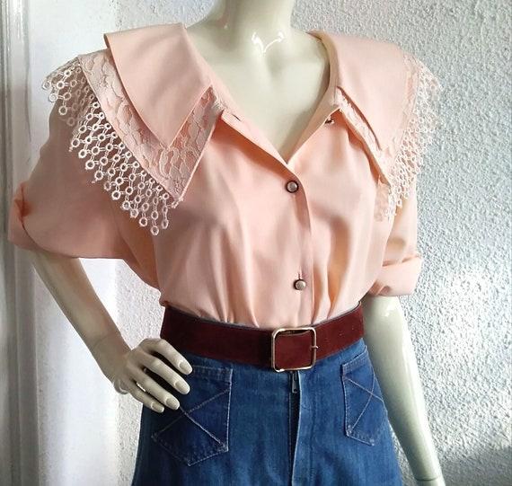 puritan collar blouse floral lace double collar ed