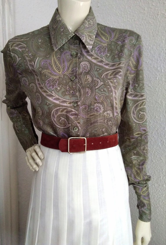 90s does 40s-50s paisley blouse cotton grey sprin… - image 6