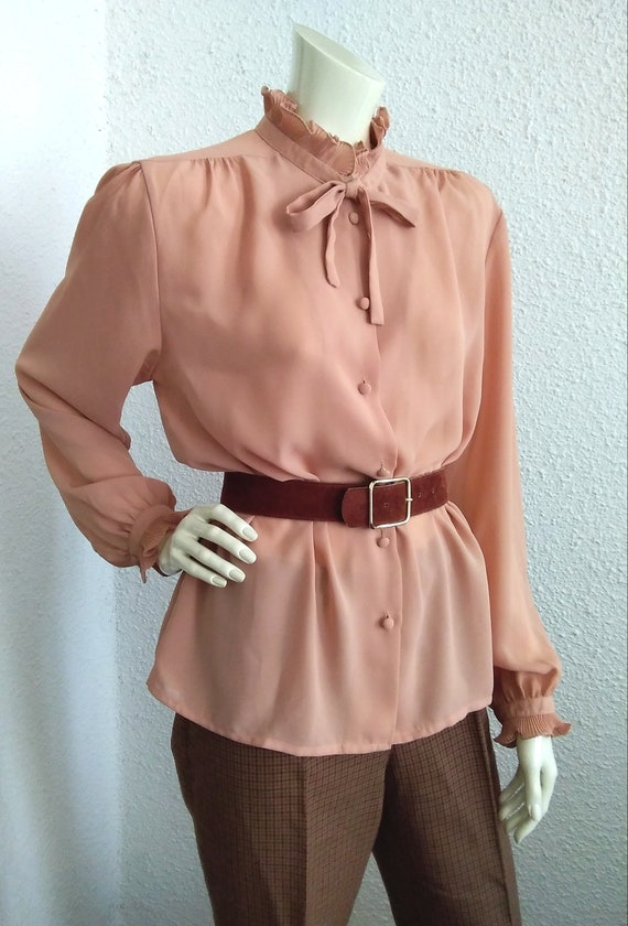 70s-80s pussy bow top pleated ruffled blouse vict… - image 9