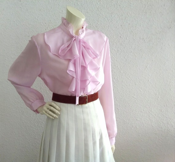 70s pussy bow blouse ruffled collar long sleeves … - image 1