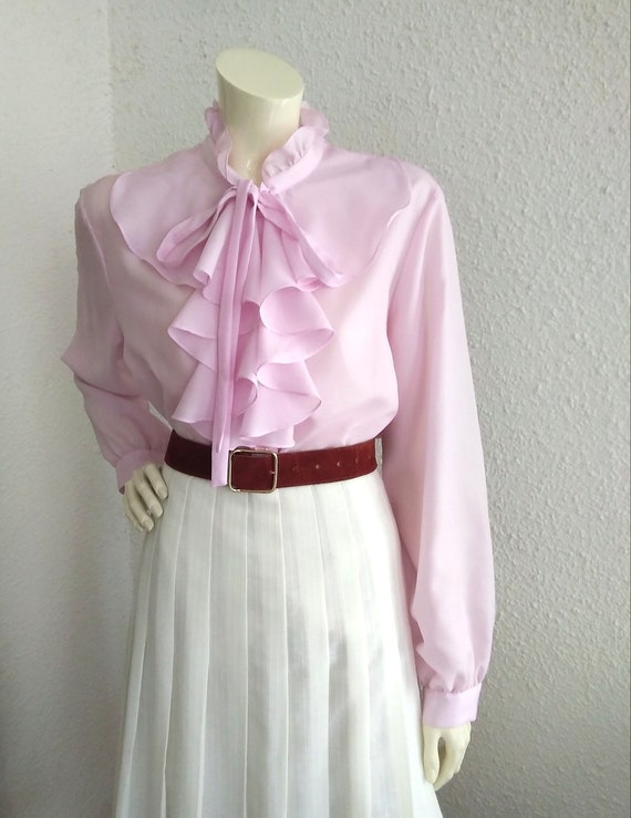 70s pussy bow blouse ruffled collar long sleeves … - image 10