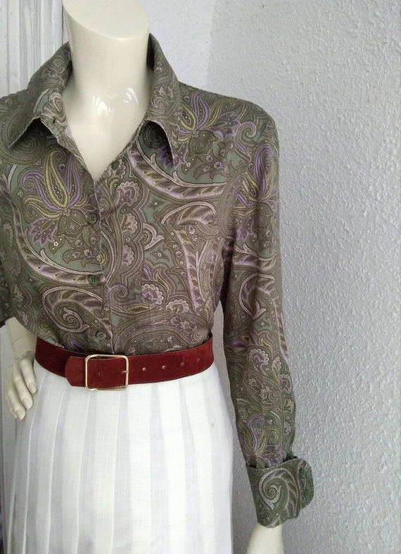 90s does 40s-50s paisley blouse cotton grey sprin… - image 9