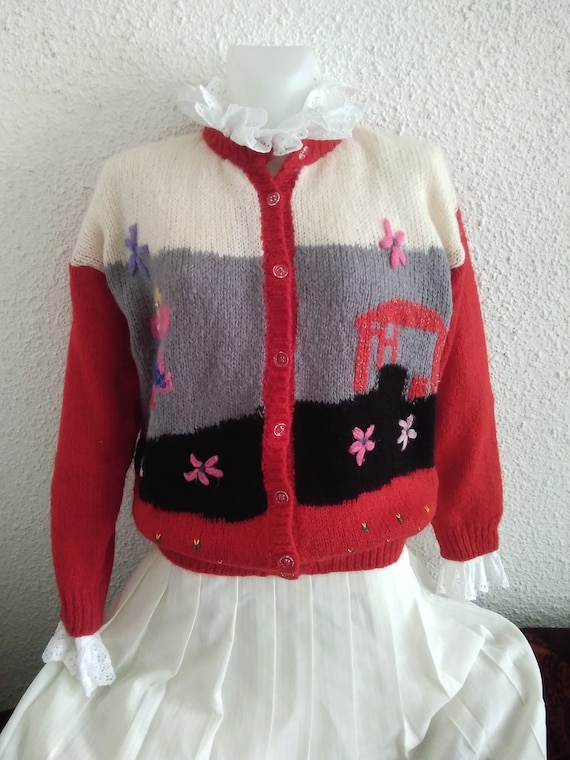 80s novelty scenic sweater vintage wool mohair an… - image 8