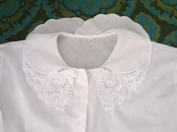 sailor collar blouse vintage white poet blouse 80s