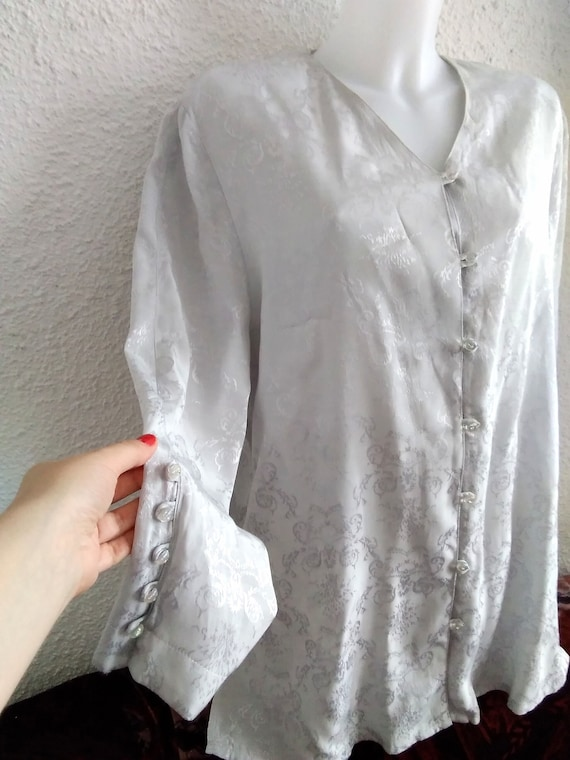 minimalist floral jacquard  shirt 80s grey color … - image 3