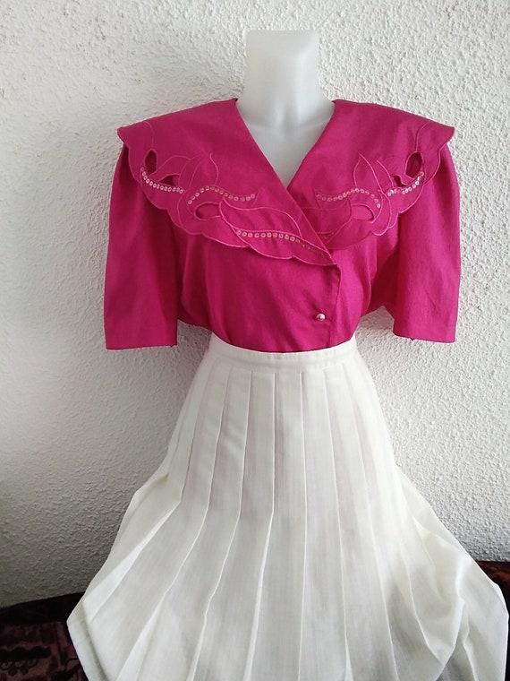 80s vintage spring summer blouse radiant red pink