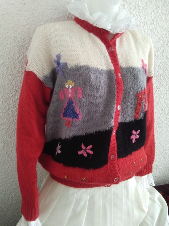 80s novelty scenic sweater vintage wool mohair an… - image 3