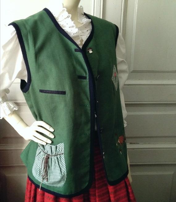 80s embroidered folk vest button-up pop-art color… - image 2