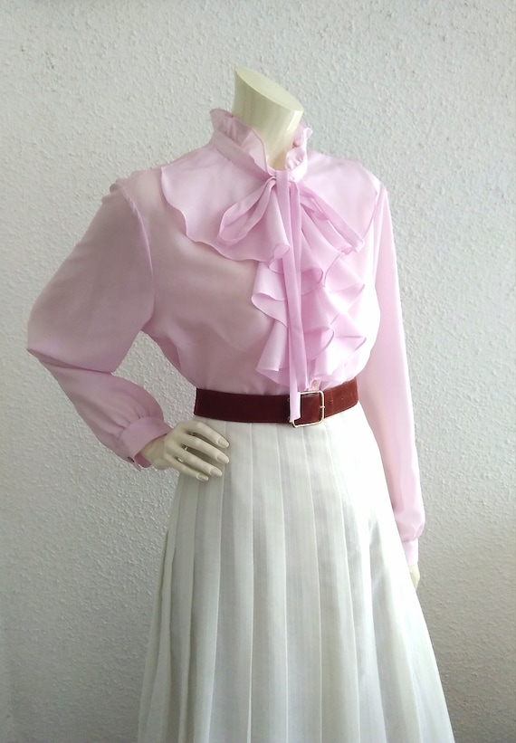 70s pussy bow blouse ruffled collar long sleeves … - image 6