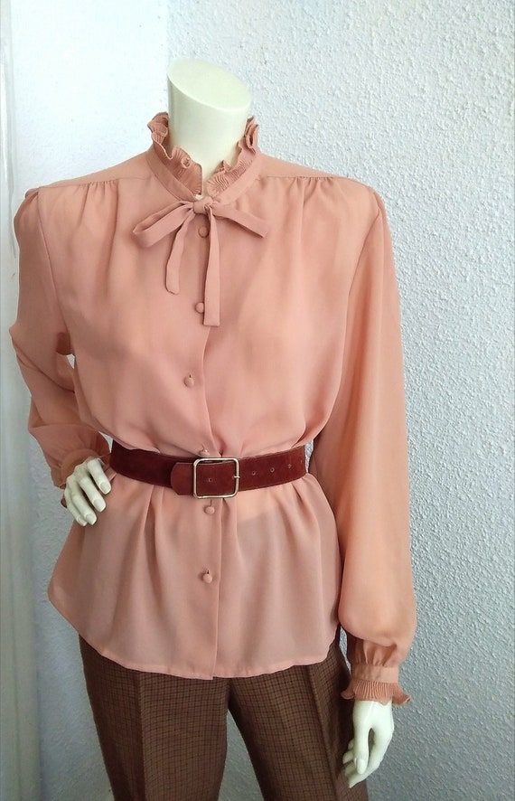 70s-80s pussy bow top pleated ruffled blouse victo