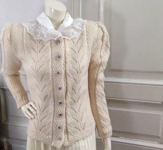 folk wool cardigan ivory torsade sweater bavarian