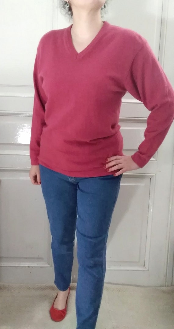 90s wool sweater minimalist strawberry color sweat