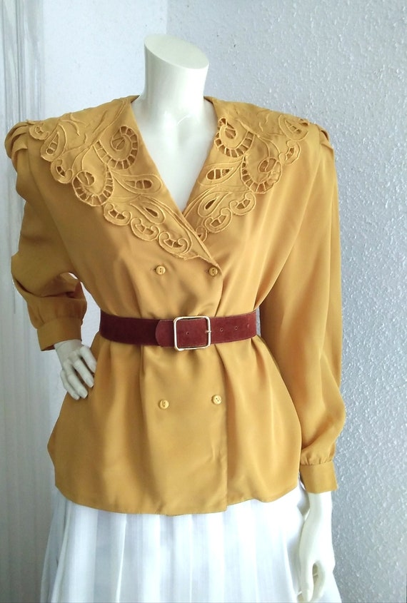 80s vintage cape blouse maximalist embroidered col