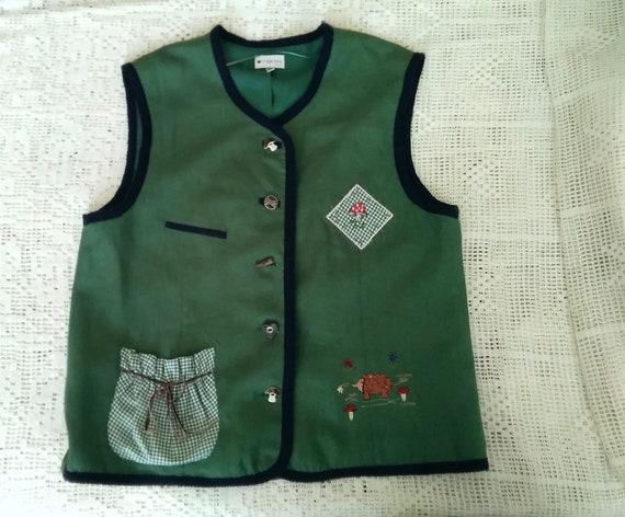 80s embroidered folk vest button-up pop-art color… - image 1