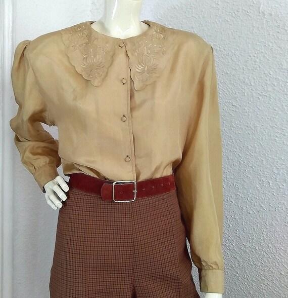 floral embroidery silk blouse sailor collar statem