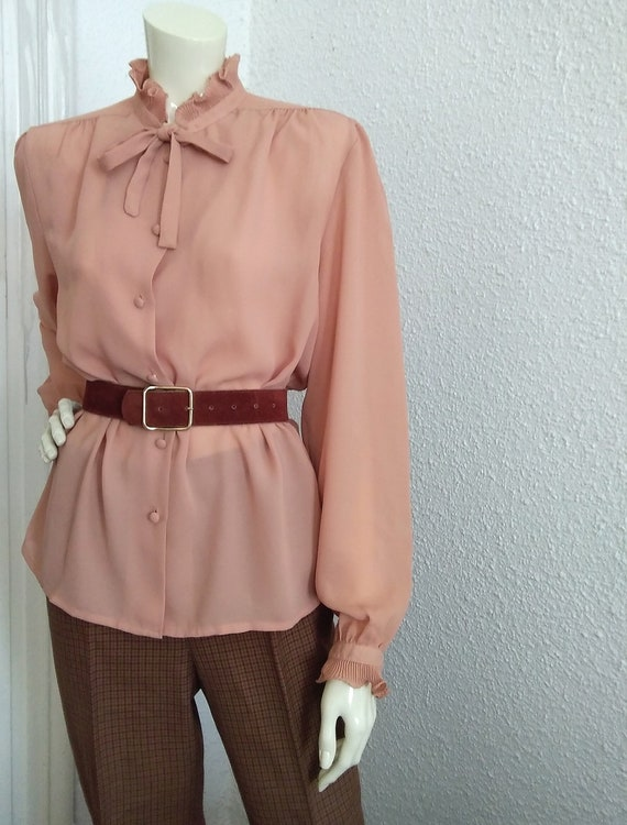 70s-80s pussy bow top pleated ruffled blouse vict… - image 8
