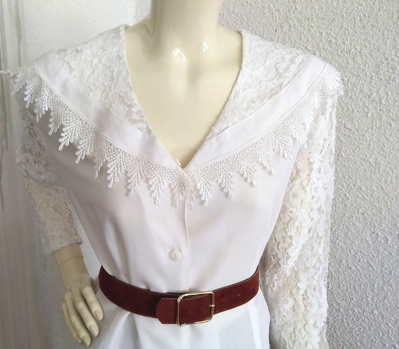 80s cape collar blouse lace sleeve fancy big purit