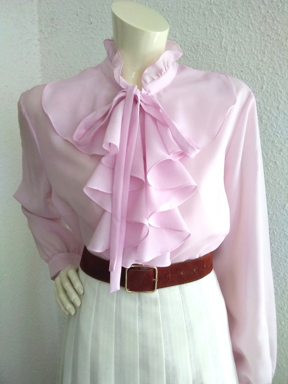70s pussy bow blouse ruffled collar long sleeves … - image 2