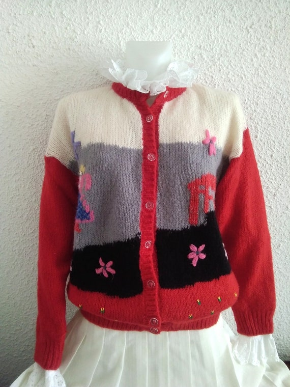 80s novelty scenic sweater vintage wool mohair an… - image 9