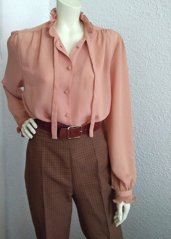 70s-80s pussy bow top pleated ruffled blouse vict… - image 5