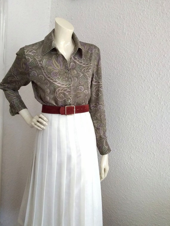 90s does 40s-50s paisley blouse cotton grey sprin… - image 1