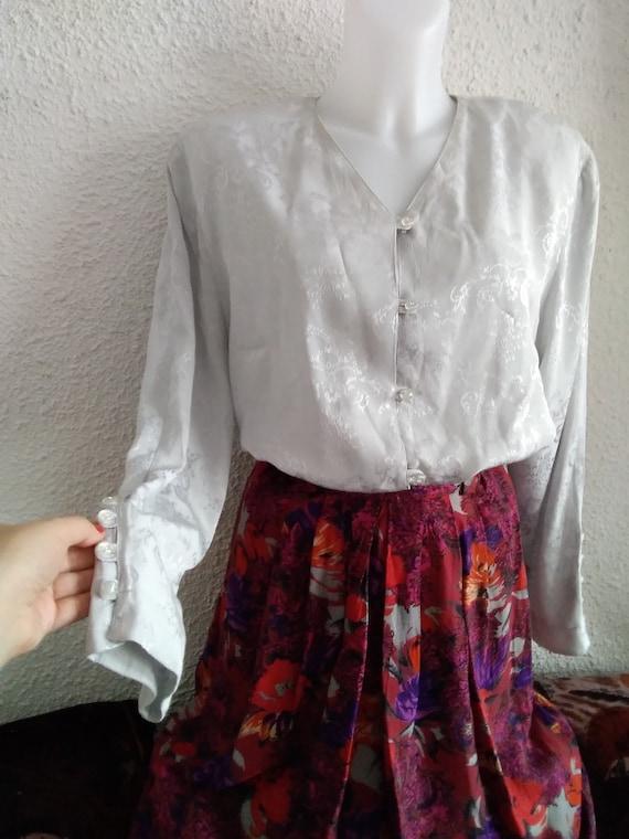 minimalist floral jacquard  shirt 80s grey color … - image 7