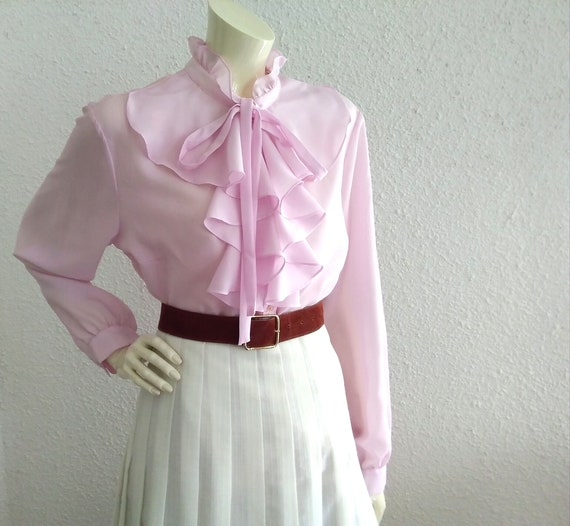 70s pussy bow blouse ruffled collar long sleeves … - image 4