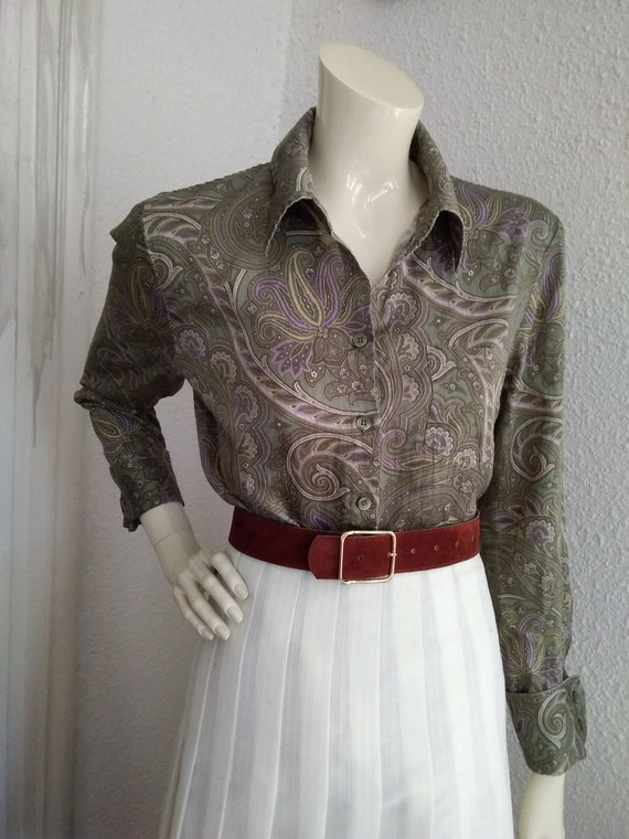 90s does 40s-50s paisley blouse cotton grey sprin… - image 10