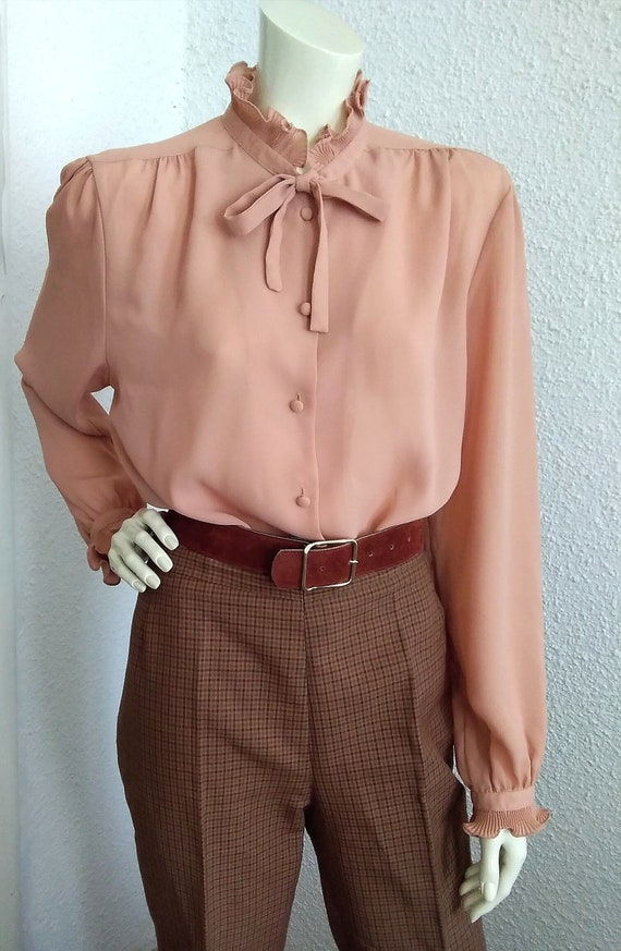 70s-80s pussy bow top pleated ruffled blouse vict… - image 3