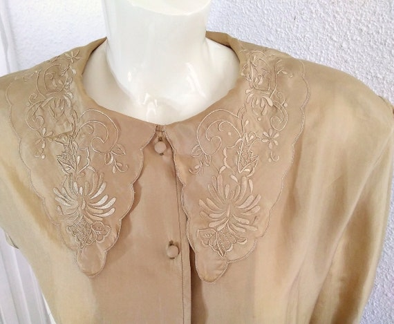 floral embroidery silk blouse sailor collar state… - image 5