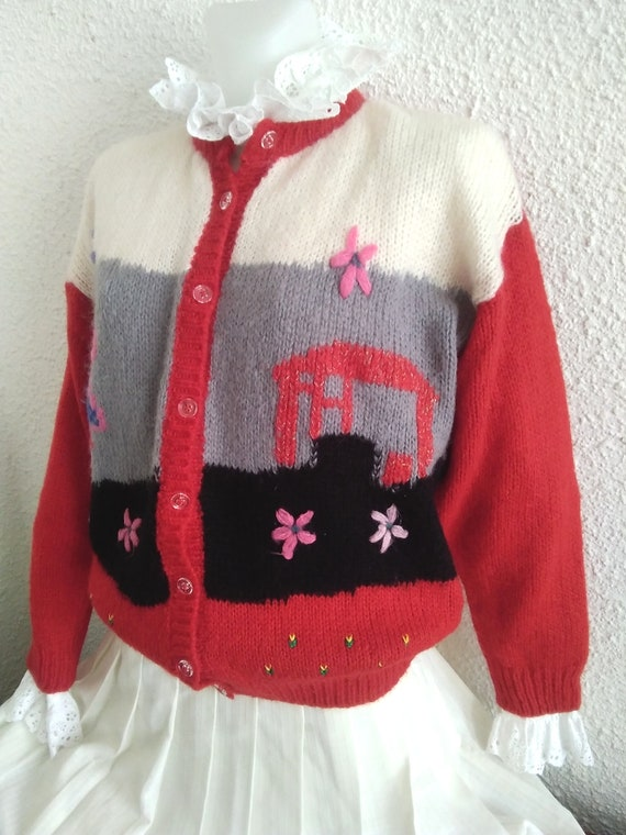 80s novelty scenic sweater vintage wool mohair an… - image 4