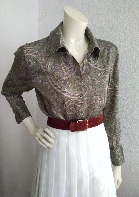 90s does 40s-50s paisley blouse cotton grey sprin… - image 4
