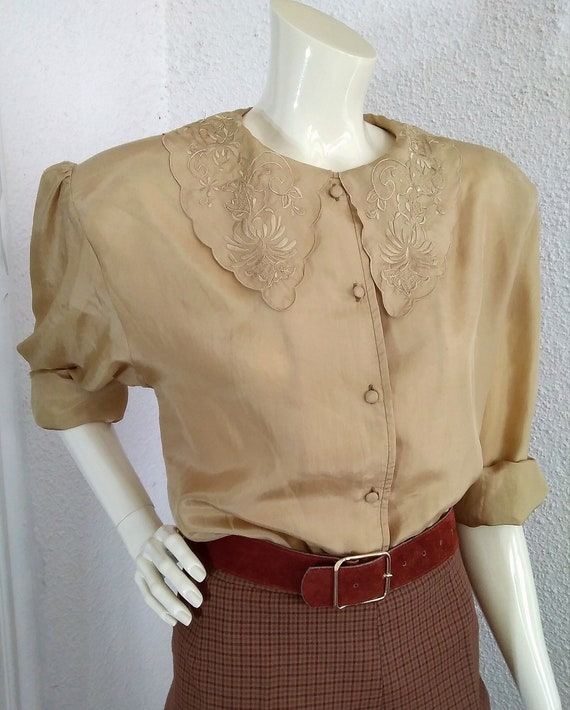 floral embroidery silk blouse sailor collar state… - image 9