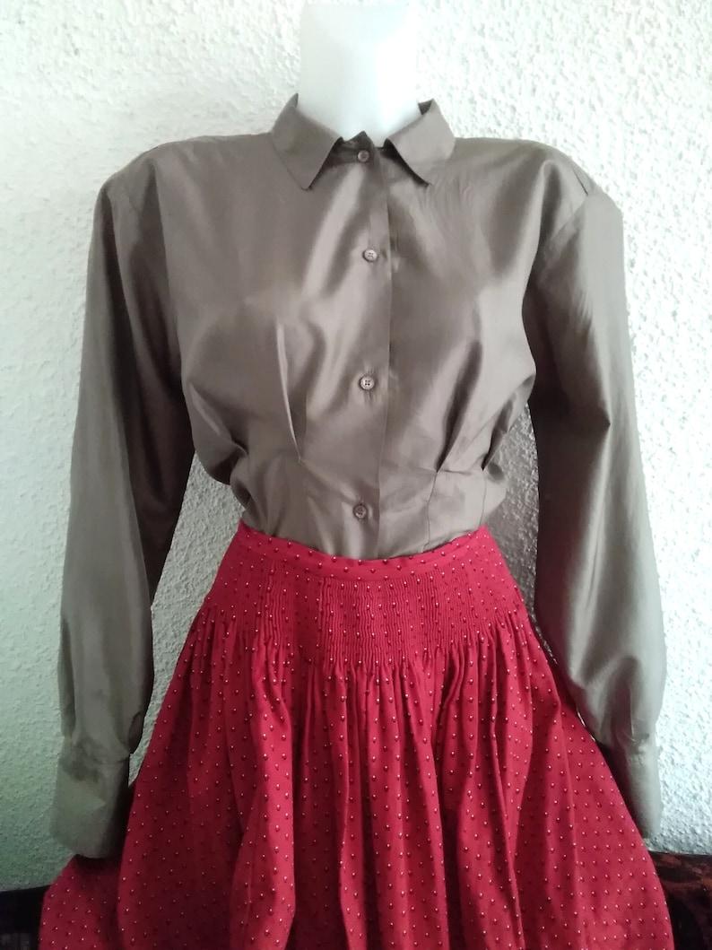 minimalist neutral pure silk shirt 80 simple basic shirt office  secretary blouse long sleeve padded shoulders size label S brand Kavi