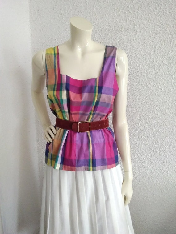 vintage 90s checkered colorful blouse summer top s