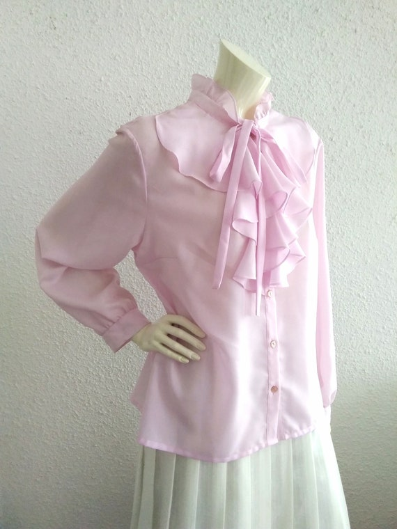 70s pussy bow blouse ruffled collar long sleeves … - image 7