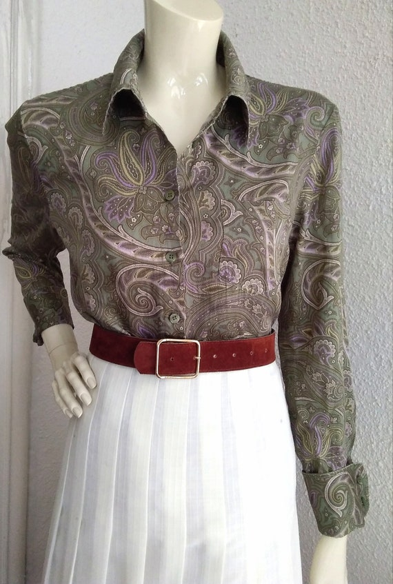 90s does 40s-50s paisley blouse cotton grey sprin… - image 5