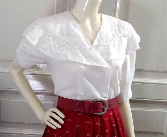 80s cape collar blouse 38 size pearl decoration la