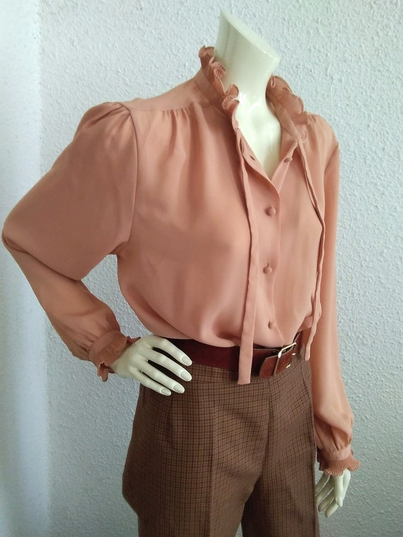 70s-80s pussy bow top pleated ruffled blouse vict… - image 6