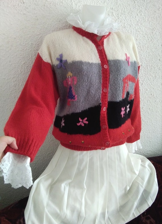 80s novelty scenic sweater vintage wool mohair an… - image 2