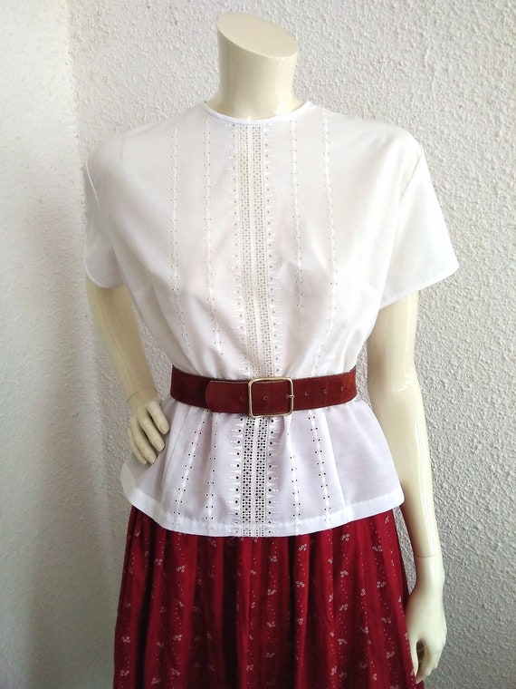 50s-60s open lace white blouse simple minimal blou