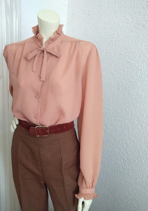 70s-80s pussy bow top pleated ruffled blouse vict… - image 4